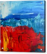 Red Flowers Blue Mountains - Abstract Landscape Acrylic Print