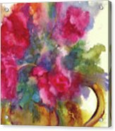 Red Flowers In Gold Vase Acrylic Print