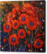 Red Flowers In The Night Acrylic Print
