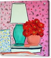 Red Flowers Pink Room Acrylic Print
