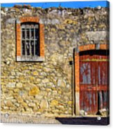 Red Gate, Stone Wall Acrylic Print