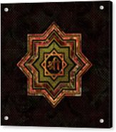 Red Gemstone And Gold  Star Of Lakshmi -  And Sri Acrylic Print