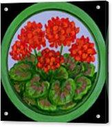 Red Geranium On Wood Acrylic Print