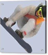Red Gerard Snowboarding Gold Acrylic Print