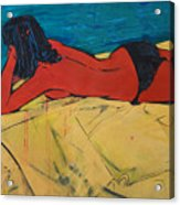 Red Girl - Yellow Bed - Imaginary Pool Acrylic Print