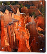 Red Glow On Thor's Hammer In Bryce Canyon Acrylic Print