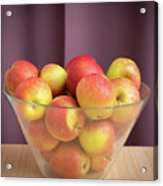 Red Green Apples In A Glass Bowl Acrylic Print