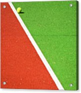 Red Green White Line And Tennis Ball Acrylic Print