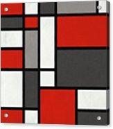 Red Grey Black Mondrian Inspired Acrylic Print