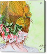 Red Hair And Apple Blossoms Acrylic Print