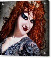 Red Hair, Gothic Mood. Model Sofia Metal Queen Acrylic Print