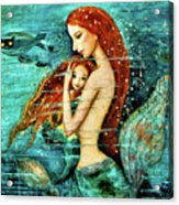 Red Hair Mermaid Mother And Child Acrylic Print