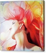 Red Hair With Bubbles Acrylic Print