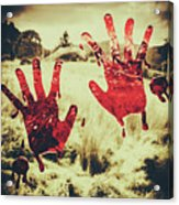 Red Handprints On Glass Of Windows Acrylic Print