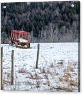 Red Hay Wagon Acrylic Print
