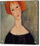 Red Head Acrylic Print by Amedeo Modigliani