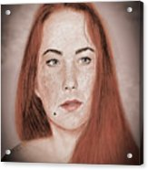 Red Headed Beauty Vdersion II Acrylic Print