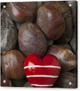 Red Heart Among Stones Acrylic Print