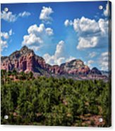 Red Hills And Green Tress Acrylic Print