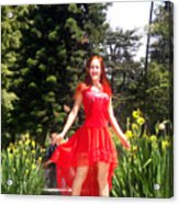 Red Hot - Ameynra Fashion By Sofia Metal Queen. Acrylic Print