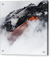 Red Hot Lava And Steam Acrylic Print