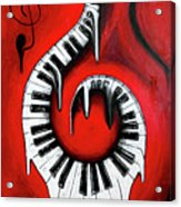 Red Hot - Swirling Piano Keys - Music In Motion Acrylic Print