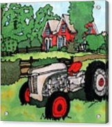 Red House And Tractor Acrylic Print by Linda Marcille