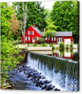 Red House By The Falls Acrylic Print