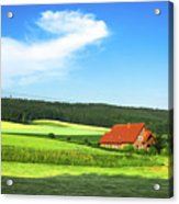 Red House In Field - Amshausen, Germany Acrylic Print