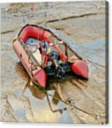 Red Inflatable Boat With Motor In Musselburgh Haven. Acrylic Print