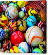 Red Jar Spilling Marbles Acrylic Print