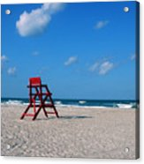 Red Life Guard Chair Acrylic Print