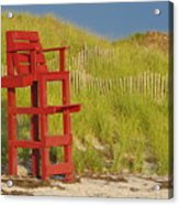 Red Lifeguard Seat Acrylic Print