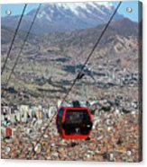 Red Line Cable Car Cabin And Mt Illimani Bolivia Acrylic Print