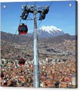 Red Line Cable Cars And Mt Illimani La Paz Bolivia Acrylic Print