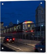 Red Line Train Rumbling Over The Longfellow Bridge In Boston Ma Acrylic Print