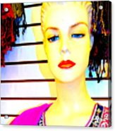 Red Lips And Sequins Acrylic Print