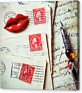 Red Lips Pin And Old Letters Acrylic Print