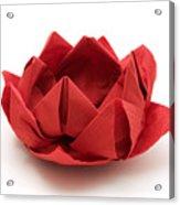 Red Lotus Origami Acrylic Print