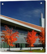 Red Maple Trees And Modern Architecture Of Seneca College York U Acrylic Print