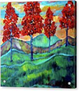 Red Maples On Green Hills With Name And Title Acrylic Print