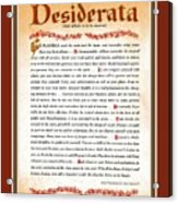 Red Matted Floral Scroll Desiderata Poem Acrylic Print
