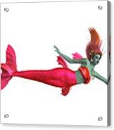 Red Mermaid On White Acrylic Print
