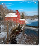 Red Mill In Winter Acrylic Print