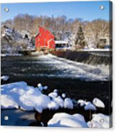 Red Mill In Winter Landscape Acrylic Print by George Oze