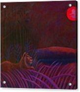 Red Night Painting 48 Acrylic Print by Angela Treat Lyon