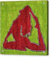 Red Nude Yoga Girl Acrylic Print