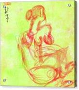 Red On Green Figure Acrylic Print