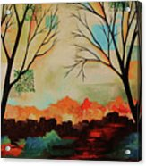 Red Tree Path Acrylic Print