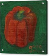 Red Pepper On Linen Acrylic Print